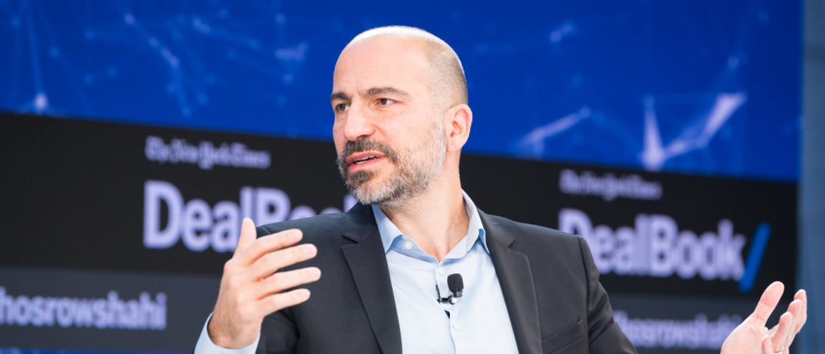 NEW YORK, NY - NOVEMBER 09:  Dara Khosrowshahi speaks onstage at The New York Times 2017 DealBook Conference at Jazz at Lincoln Center on November 9, 2017 in New York City.  (Photo by Michael Cohen/Getty Images for The New York Times)
