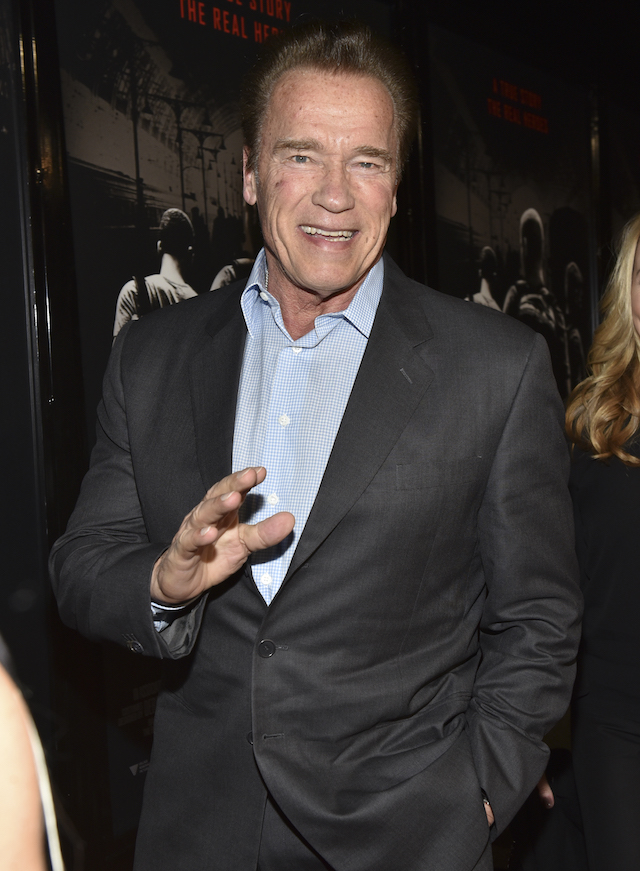 "Former Governor of California Arnold Schwarzenegger arrives at the premiere of Warner Bros. Pictures' ""The 15:17 to Paris"" at Warner Bros. Studios on February 5, 2018 in Burbank, California. (Photo by Rodin Eckenroth/Getty Images)"
