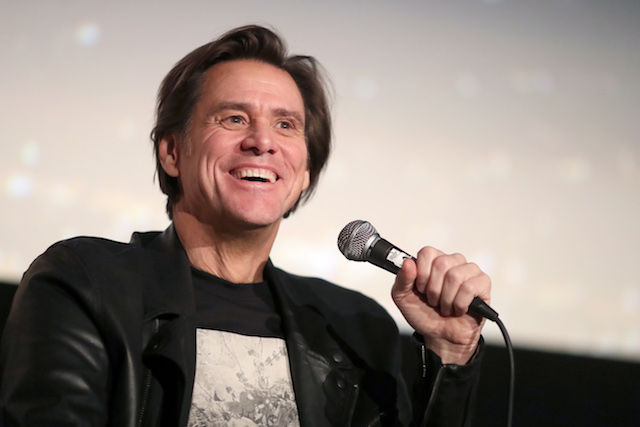 """Jim Carrey speaks onstage during """"Jim & Andy: The Great Beyond - Featuring a Very Special, Contractually Obligated Mention of Tony Clifton"""" at AFI FEST 2017 Presented By Audi at TCL Chinese 6 Theatres on November 13, 2017 in Hollywood, California. (Photo by Christopher Polk/Getty Images for AFI)"""
