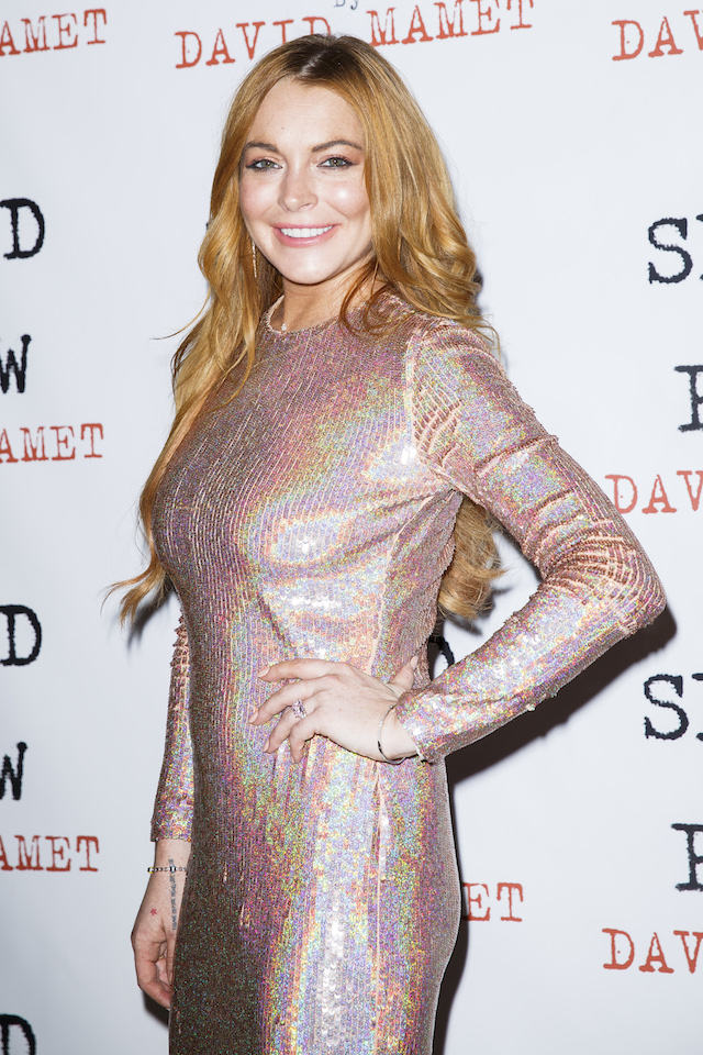 "Lindsay Lohan attends the press night after party of ""Speed The Plow"" at Playhouse Theatre on October 2, 2014 in London, England. (Photo by Tristan Fewings/Getty Images)"