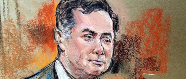 Former Trump campaign manager Paul Manafort is shown in a court room sketch, during a testimony of a longtime business associate Rick Gates (not shown), on the fifth day of his trial, on bank and tax fraud charges stemming from Special Counsel Robert Mueller's investigation into Russian meddling in the 2016 U.S. presidential election, in federal court in Alexandria, Virginia, U.S., August 6, 2018. Judge T.S. Ellis (rear C) looks on. REUTERS/Bill Hennessy