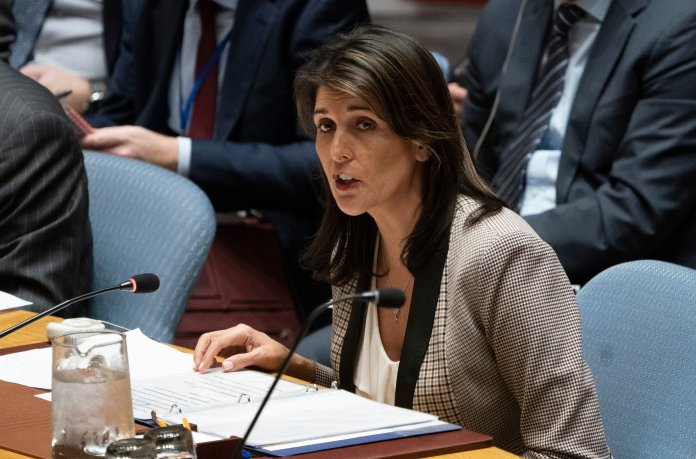 "US Ambassador to the UN Nikki Haley addresses the UNSC during a United Nations Security Council meeting on Ukraine November 26, 2018 at the United Nations in New York. - The United States on Monday warned Russia that ""outlaw actions"" like the seizure of Ukrainian ships in the Sea of Azov are preventing normal relations from developing between Washington and Moscow. US Ambassador Nikki Haley told the UN Security Council that ""the United States would welcome a normal relationship with Russia. But outlaw actions like this one continue to make that impossible."" (Photo by DON EMMERT/AFP/Getty Images)"