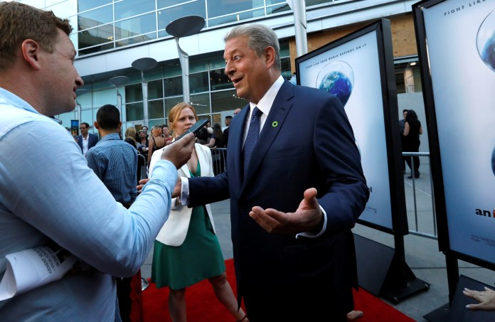 "Former U.S. Vice President Gore is interviewed at a screening for ""An Inconvenient Sequel: Truth to Power"" in Los Angeles"