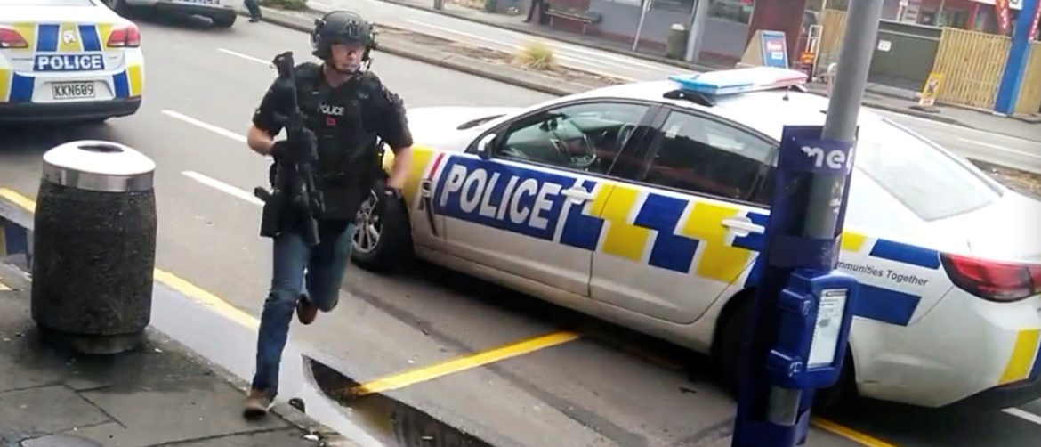 A police officer responds following shooting at Linwood in Christchurch, New Zealand, March 15, 2019, in this still image obtained from a social media video. Video obtained by Reuters/ via REUTERS ATTENTION EDITORS - THIS IMAGE HAS BEEN SUPPLIED BY A THIRD PARTY. MANDATORY CREDIT. NO RESALES. NO ARCHIVES. - RC148B15C750