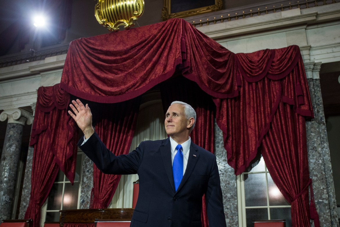 Vice President Mike Pence waves after a mock swearing in ceremony for members of the U.S. Senate on Capitol Hill on January 3, 2019 in Washington, DC. (Photo by Zach Gibson/Getty Images)