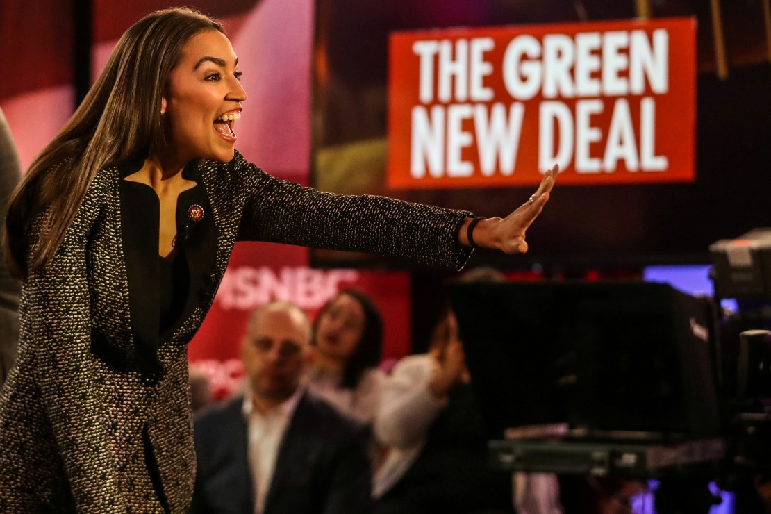 U.S. Representative Alexandria Ocasio-Cortez (D-NY) greets audiences following a televised town hall event in New York