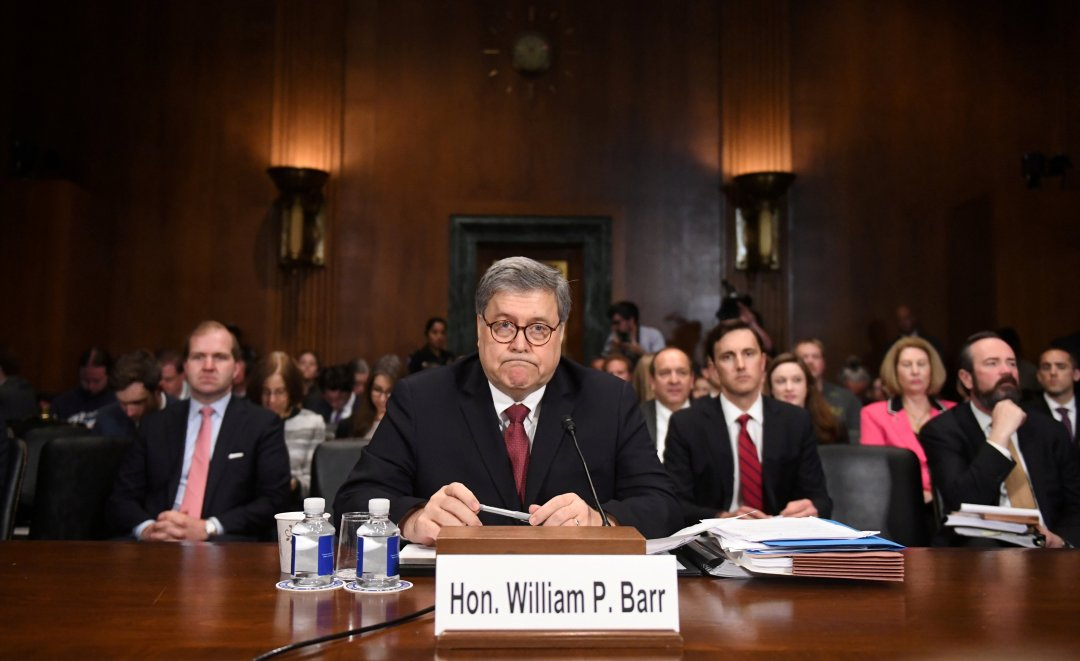 U.S. Attorney General William Barr testifies before a Senate Judiciary Committee hearing on