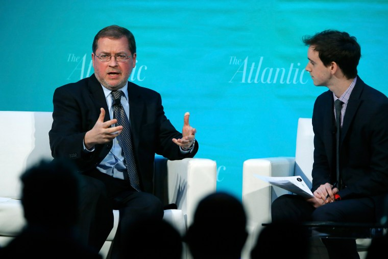 Americans for Tax Reform Founder and President Norquist speaks during an on-stage interview with The Atlantic's Senior Editor Thompson at The Atlantic Economy Summit in Washington