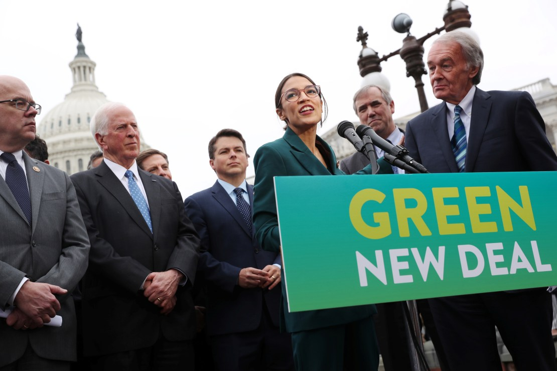 """U.S. Representative Ocasio-Cortez and Senator Markey hold a news conference for their proposed """"Green New Deal"""" at the U.S. Capitol in Washington"""