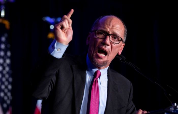 Democratic National Commitee (DNC) Chairman Tom Perez reacts to the results of the U.S. midterm elections at a Democratic election night rally in Washington, U.S. November 6, 2018. REUTERS/Al Drago