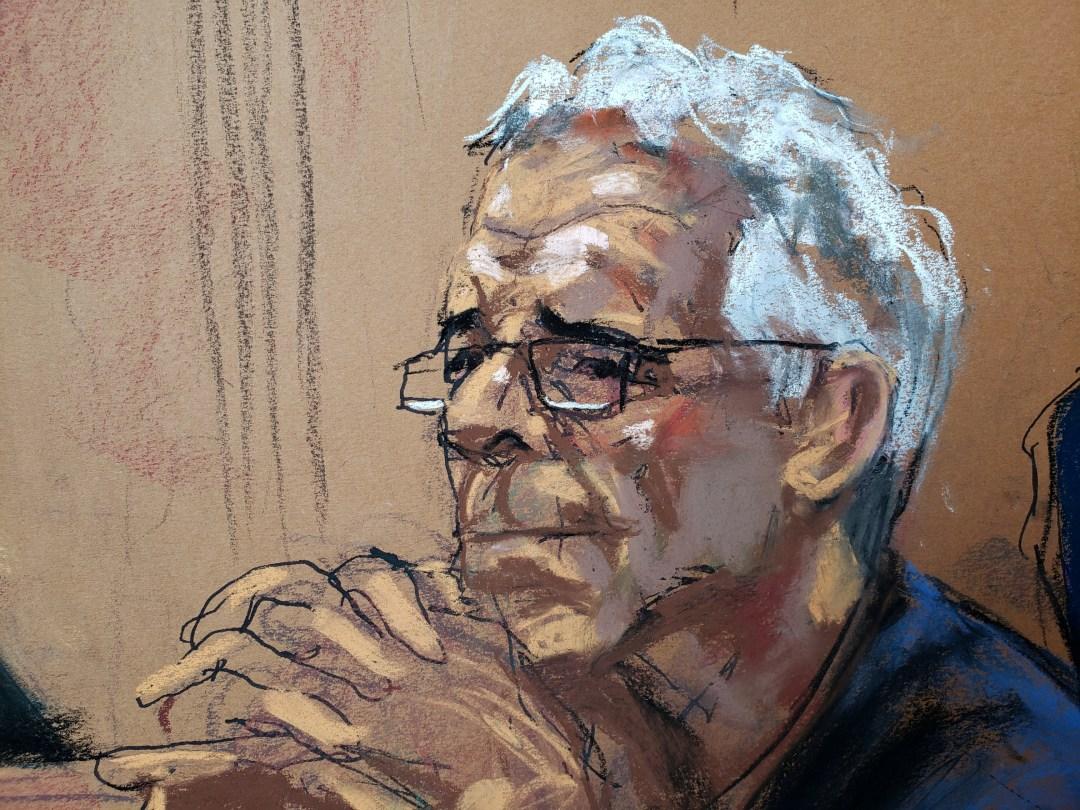 U.S. financier Jeffrey Epstein looks on during a status hearing in his sex trafficking case, in this court sketch in New York, U.S., July 31, 2019. REUTERS/Jane Rosenberg