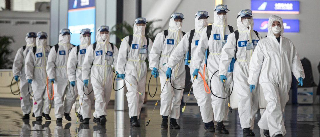 Firefighters prepare to conduct disinfection at the Wuhan Tianhe International Airport on April 3, 2020 in Wuhan, Hubei Province, China. Wuhan, the Chinese city hardest hit by the novel coronavirus outbreak, conducted a disinfection on the local airport as operations will soon resume on April 8 when the city lifts its travel restrictions. (Photo by Getty Images)