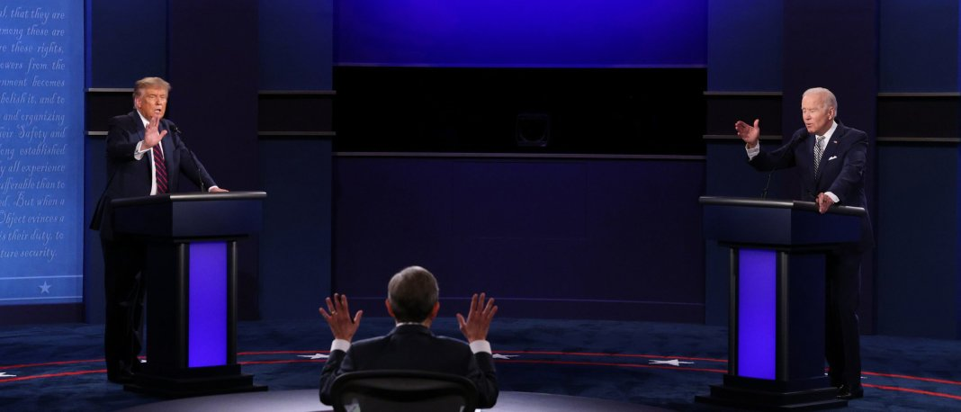 CLEVELAND, OHIO - SEPTEMBER 29: U.S. President Donald Trump and Democratic presidential nominee Joe Biden participate in the first presidential debate moderated by Fox News anchor Chris Wallace (C) at the Health Education Campus of Case Western Reserve University on September 29, 2020 in Cleveland, Ohio. This is the first of three planned debates between the two candidates in the lead up to the election on November 3. (Photo by Scott Olson/Getty Images)