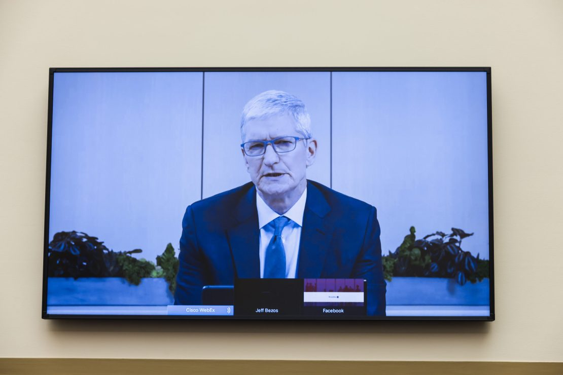 Apple CEO Tim Cook speaks via video conference during the House Judiciary Subcommittee on Antitrust, Commercial and Administrative Law hearing on Online Platforms and Market Power on July 29 in Washington, D.C. (Graeme Jennings-Pool/Getty Images)