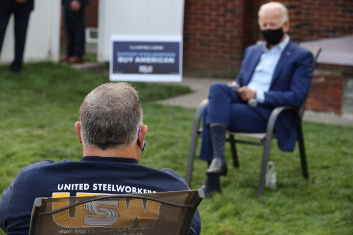 Democratic presidential nominee Joe Biden talks with members of the United Steelworkers union on Sept. 9 in Detroit, Michigan. (Chip Somodevilla/Getty Images)
