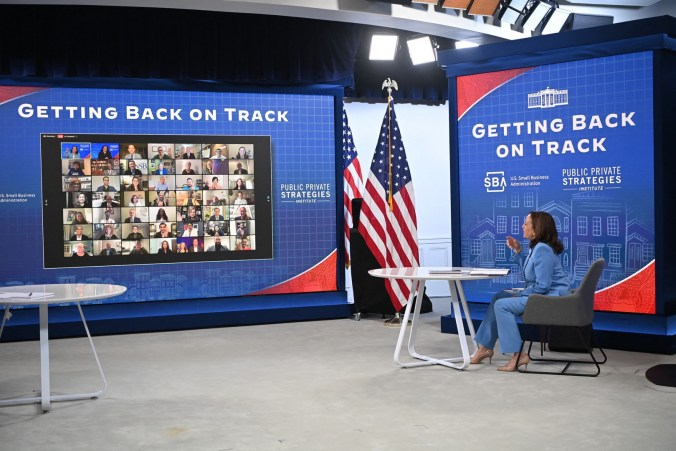 """Vice President Kamala Harris speaks to small business owners about the president's """"build back better"""" agenda on July 29. (Mandel Ngan/AFP via Getty Images)"""