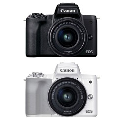 Canon EOS M50 Mark II Kit with 15-45mm (Black/White) - DCFever.com