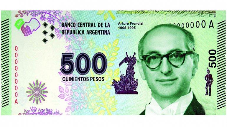 El PRO quiere a Frondizi en el papel de $500