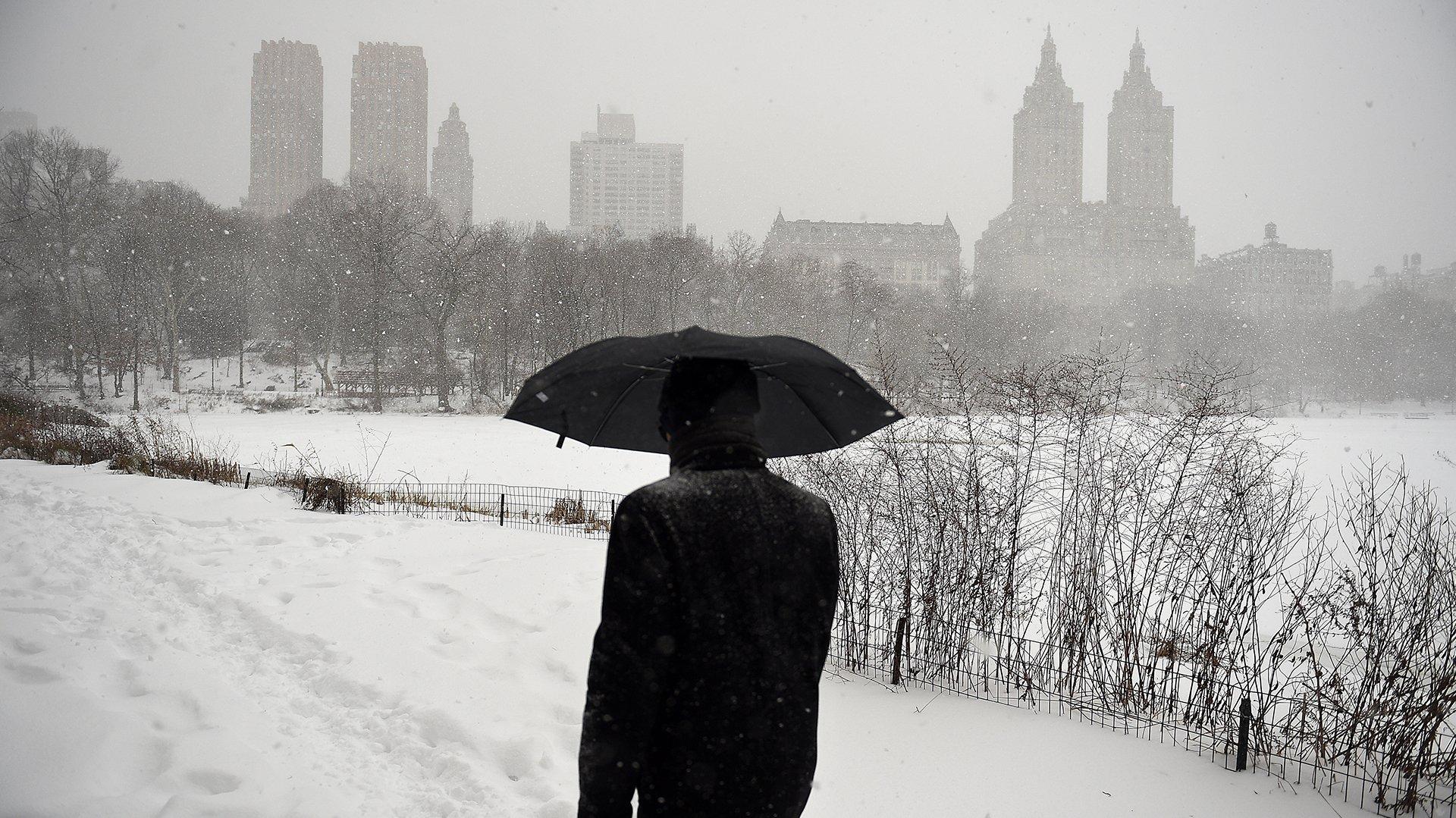 Un hombre atraviesa el Central Park cubierto de nieve