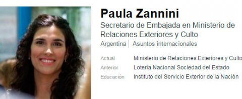 El perfil en LinkedIn de Paula Zannini