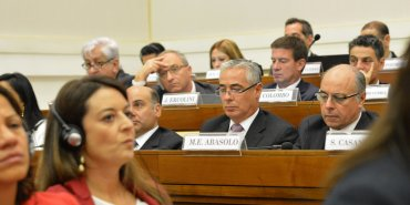 El juez Julian Ercolini, el fiscal Marcelo Colombo y el juez federal de Rafaela, Miguel Eugenio Abásolo