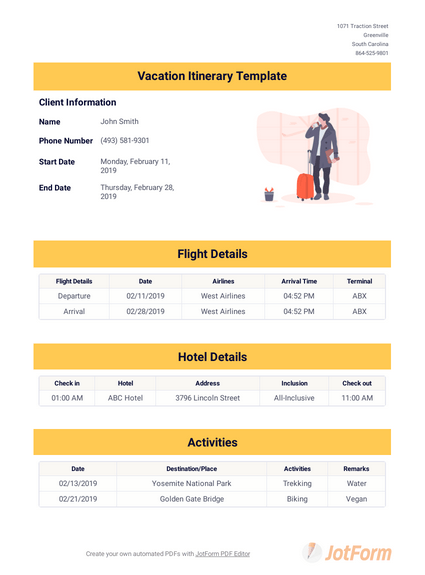 If you are simply looking for a free template that will allow you to create a business travel itinerary document, then this is the one that you are looking for. Itinerary Templates Pdf Templates Jotform