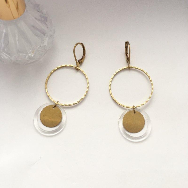 黃銅透明圈圈 黃銅耳環 - 設計館 扶桑花女孩Hibiscusforgirl - 耳環,耳夾 | Pinkoi