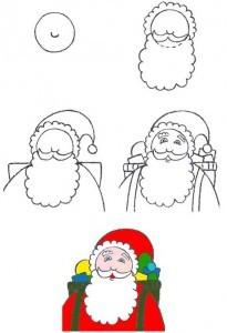 Как нарисовать лицо Деда Мороза на новый год?