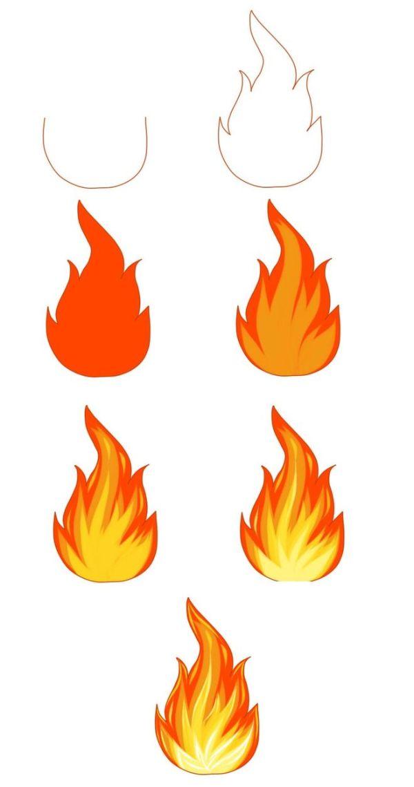 Как нарисовать огонь, пламя с помощью фото-схемы?