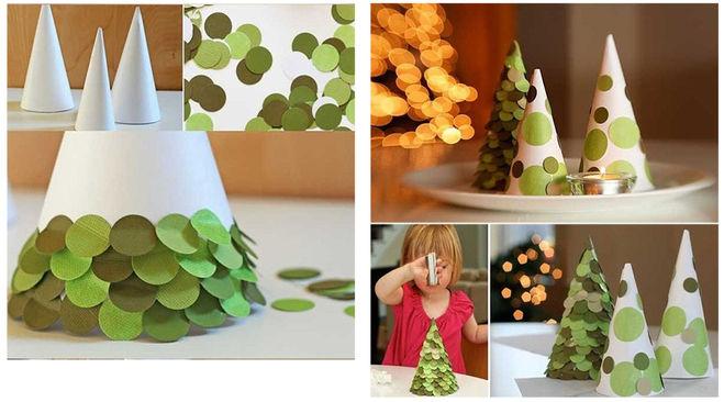 درخت کریسمس با دستان خود را از مخروط کارتن