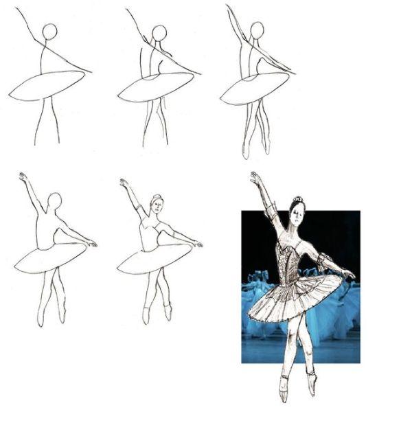 Как нарисовать Балерину Балеруна с помощью фотосхемы