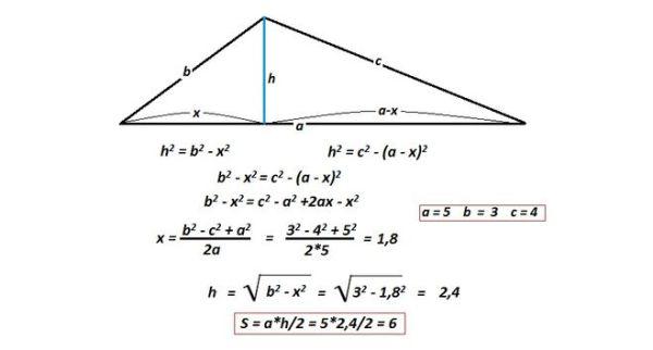 Как найти площадь треугольника , если его стороны 3см, 4см ...