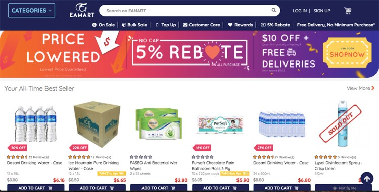 Sites to buy groceries online in Singapore: EAMart