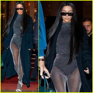 Kim Kardashian Goes Sheer & Sparkly While in Paris!