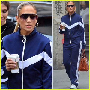 Jennifer Lopez Sports Navy Tracksuit for Coffee Outing