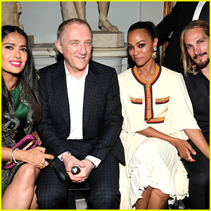 Salma Hayek & Zoe Saldana Have a Double Date at Gucci Show
