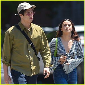 Camila Mendes Beats The Heat in Midriff Baring Top in NYC With Charles Melton