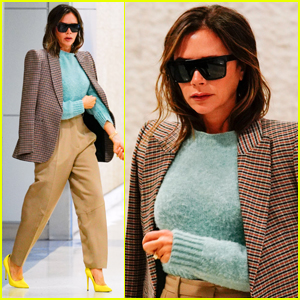 Victoria Beckham Rocks a Stylish Outfit for Flight into NYC