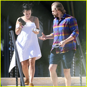 Lily Allen & Boyfriend David Harbour Enjoy a Vacation by the Pool in Miami