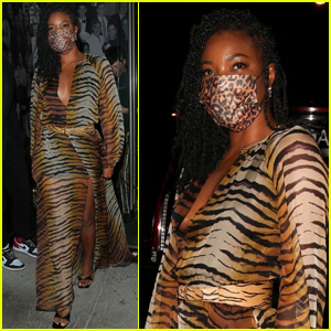 Gabrielle Union Wows in Animal-Print Dress for Night Out with Friends!