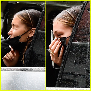 Bella Hadid Makes Funny Faces While Getting Tested for COVID