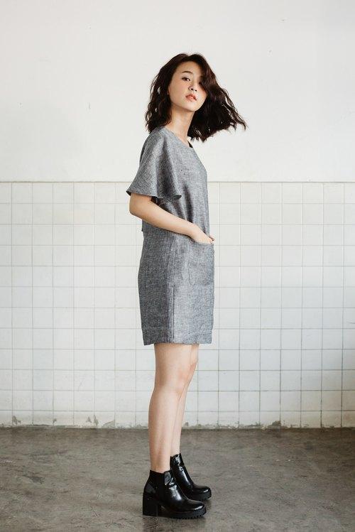 亞麻製扇形袖連身短裙-灰色 - 設計師 makersgonnamake | Pinkoi