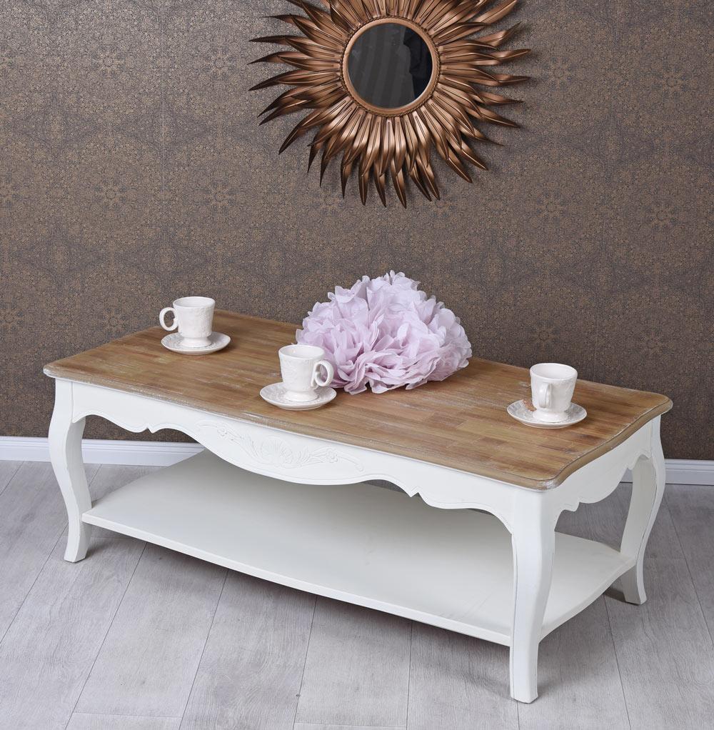 details sur table basse shabby de salon d appoint blanc en bois style ancien