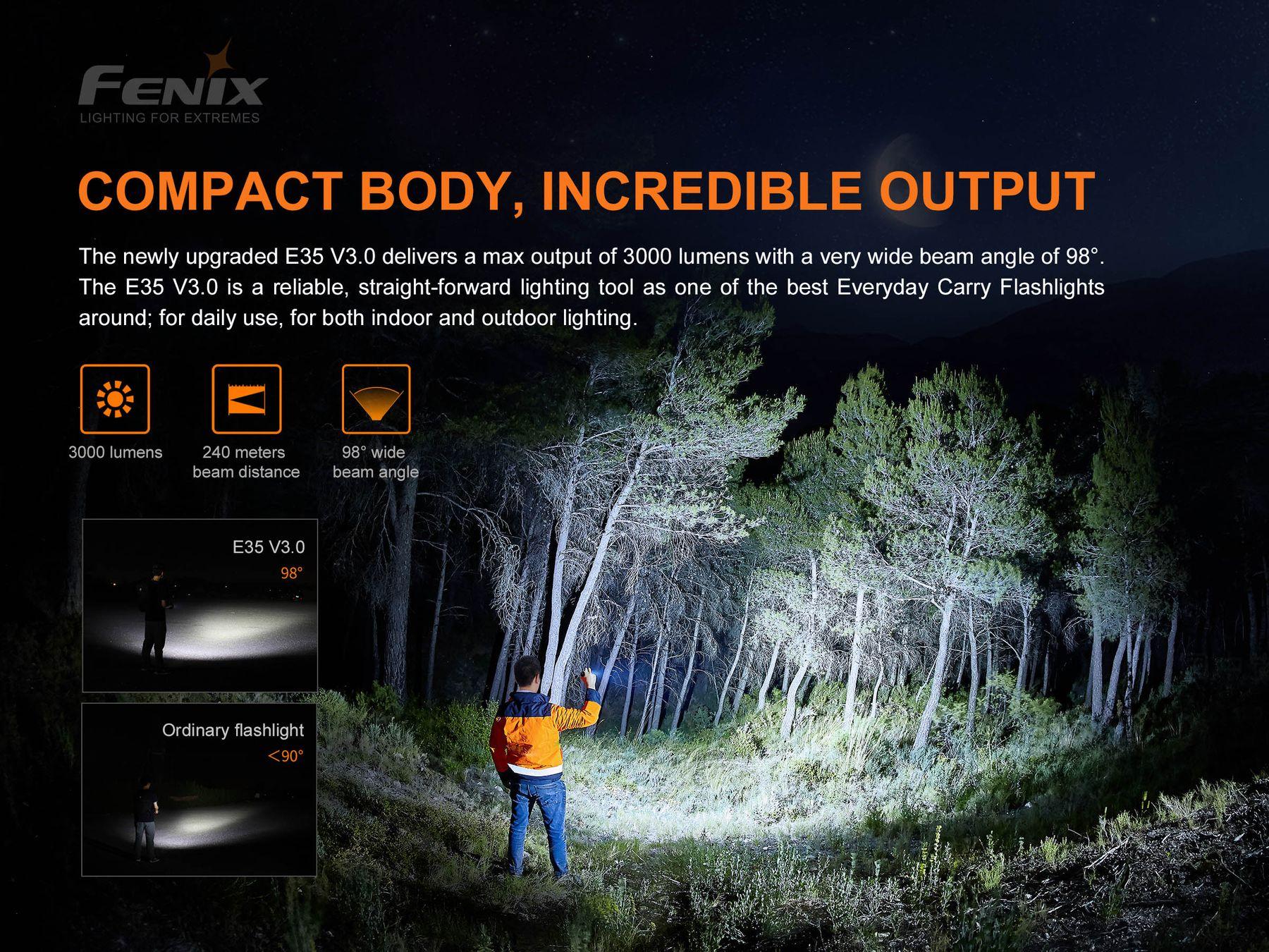 fenix e35 v3 3000 lumen led outdoor 21700 akku taschenlampe