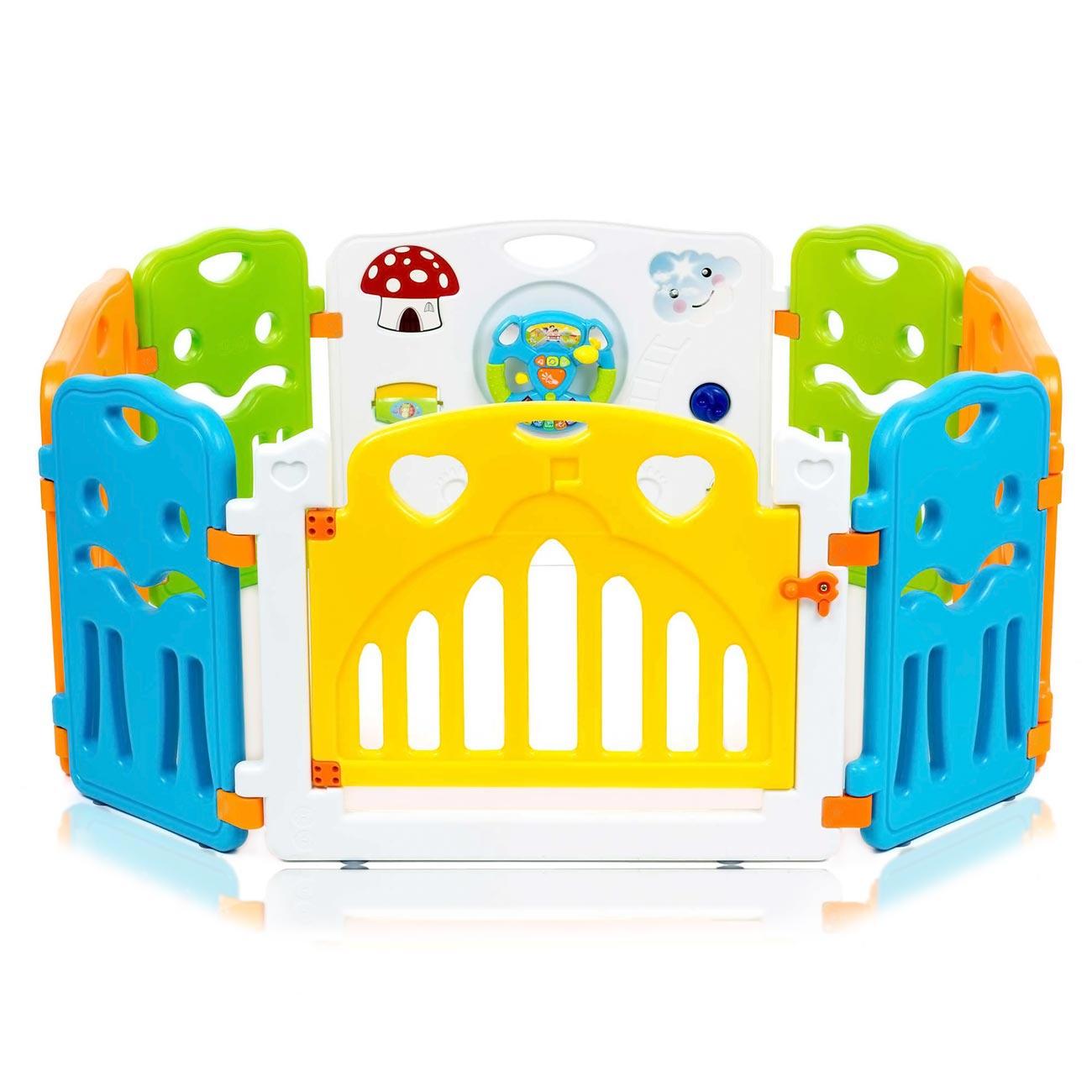 baby vivo parc bebe barriere securite avec porte extensible colors paquet principal