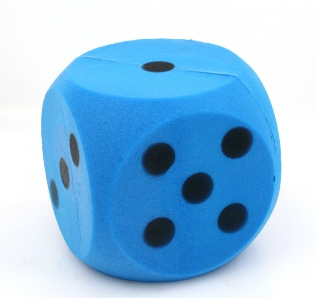 Giant blue foam dice  dice with 15 cm edge Classic Games Dice     Giant blue foam dice  dice with 15 cm edge