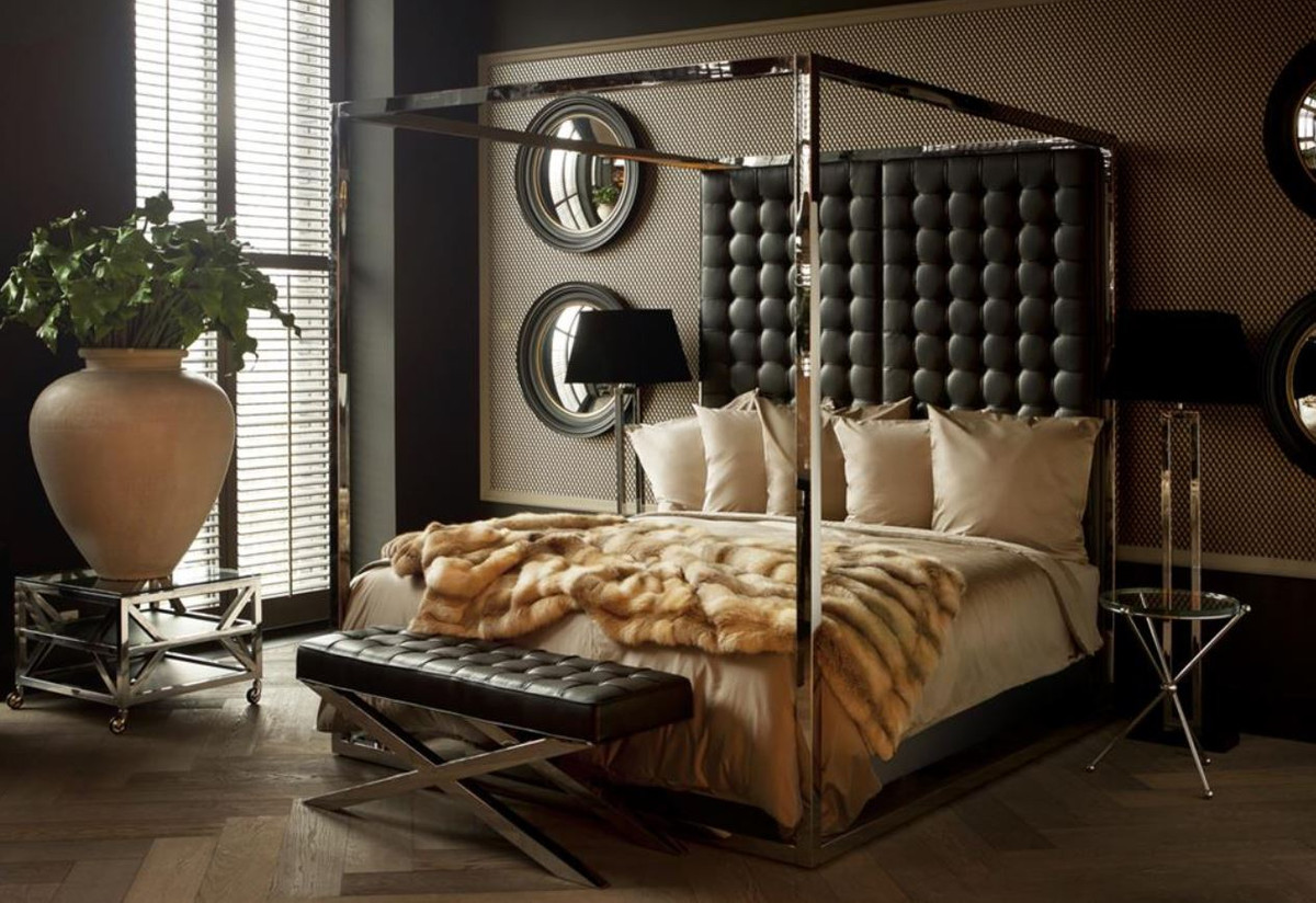 casa padrino luxury bed frame with headboard in black leather look 190 x 220 x h 220 cm designer furniture