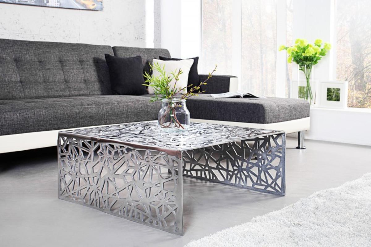 casa padrino art deco coffee table silver metal 75 x 35 cm art nouveau table furniture living room