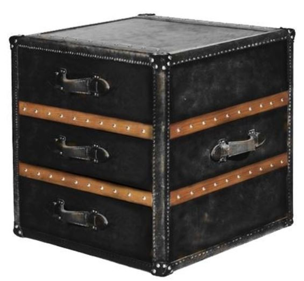 casa padrino luxury side table with 2 drawers black brown 52 x 48 x h 50 cm handmade side table in suitcase look