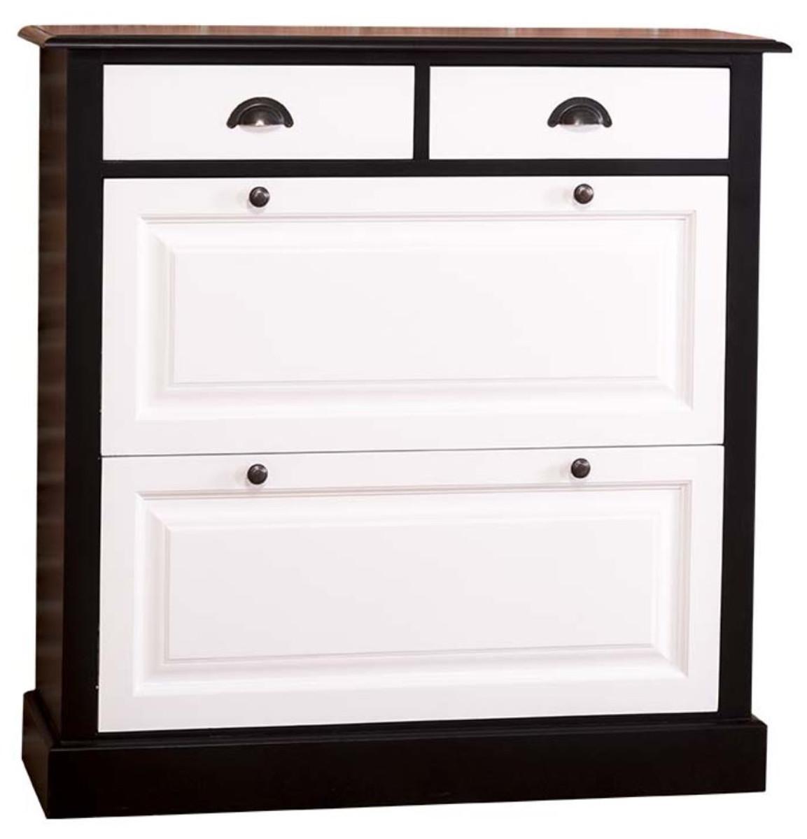 casa padrino armoire a chaussures de style country noir blanc 103 x 35 x h 105 cm meubles de style country